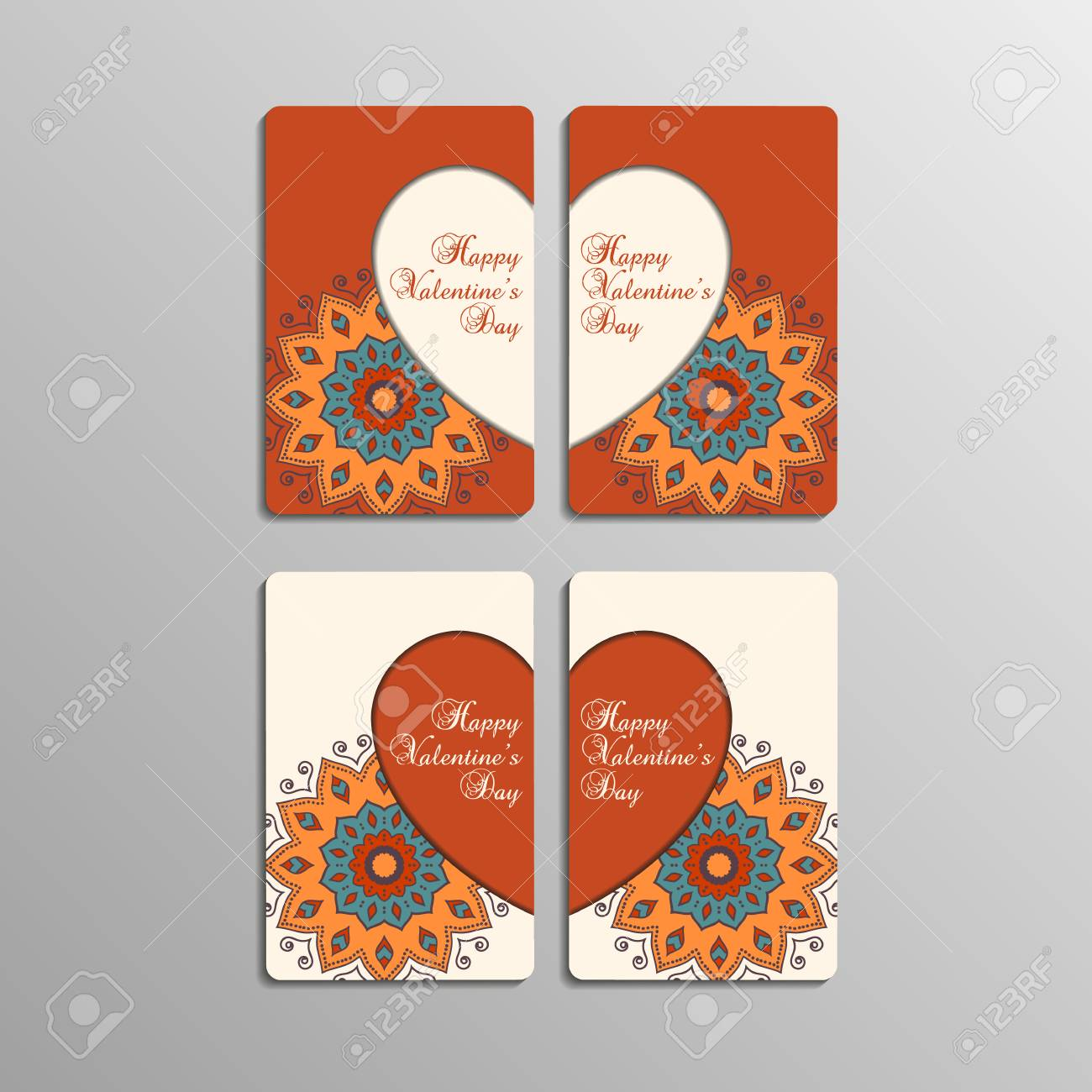 Sets of greeting cards for valentines day with mandala stylish sets of greeting cards for valentines day with mandala stylish geometric pattern in oriental style m4hsunfo