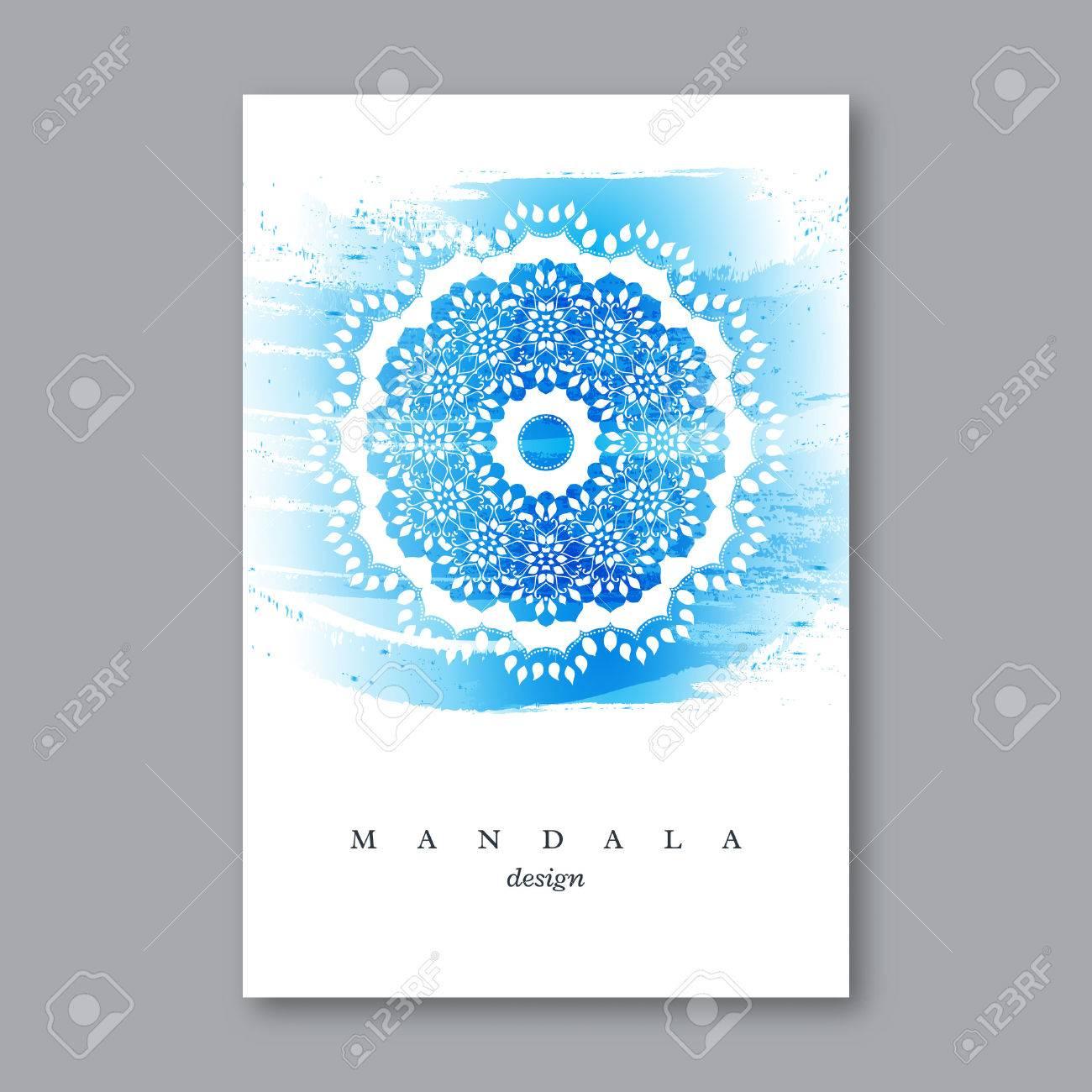 Invitación, Plantilla De Tarjeta De Boda Con La Mandala Dibujado A ...