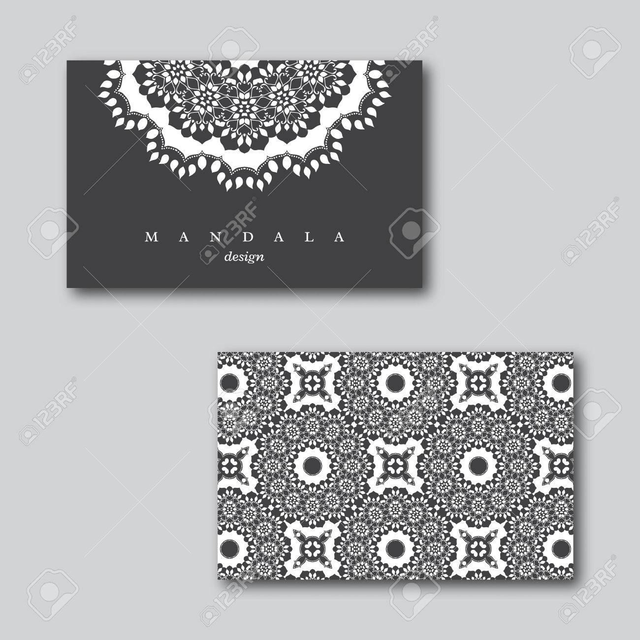 Jeu De Ornementaux Cartes Visite Avec Mandala Et Pattern Carte