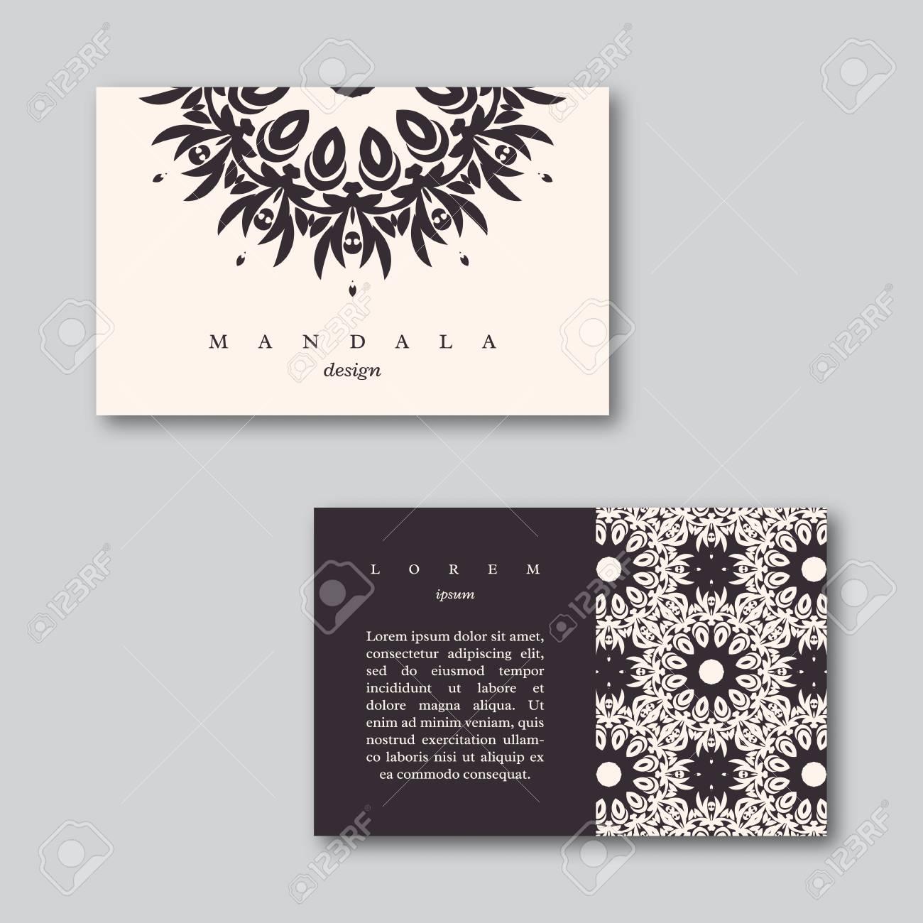 Jeu De Ornementaux Cartes Visite Avec Mandala Et Modele Carte