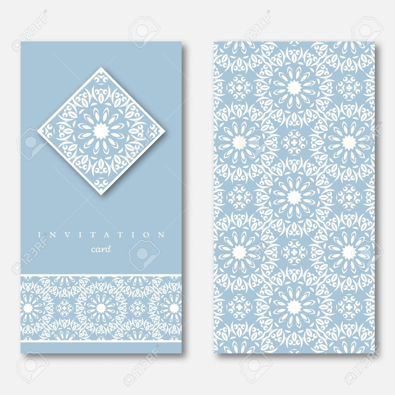 Set of two cards template for greeting invitation wedding stock illustration set of two cards template for greeting invitation wedding cards hand drawn mandala pattern vintage oriental style asian indian arabic stopboris Images
