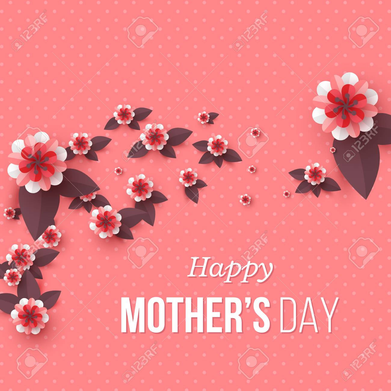 Happy Mother's day greeting card. Paper cut flowers, holiday background. Vector illustration. - 95815471