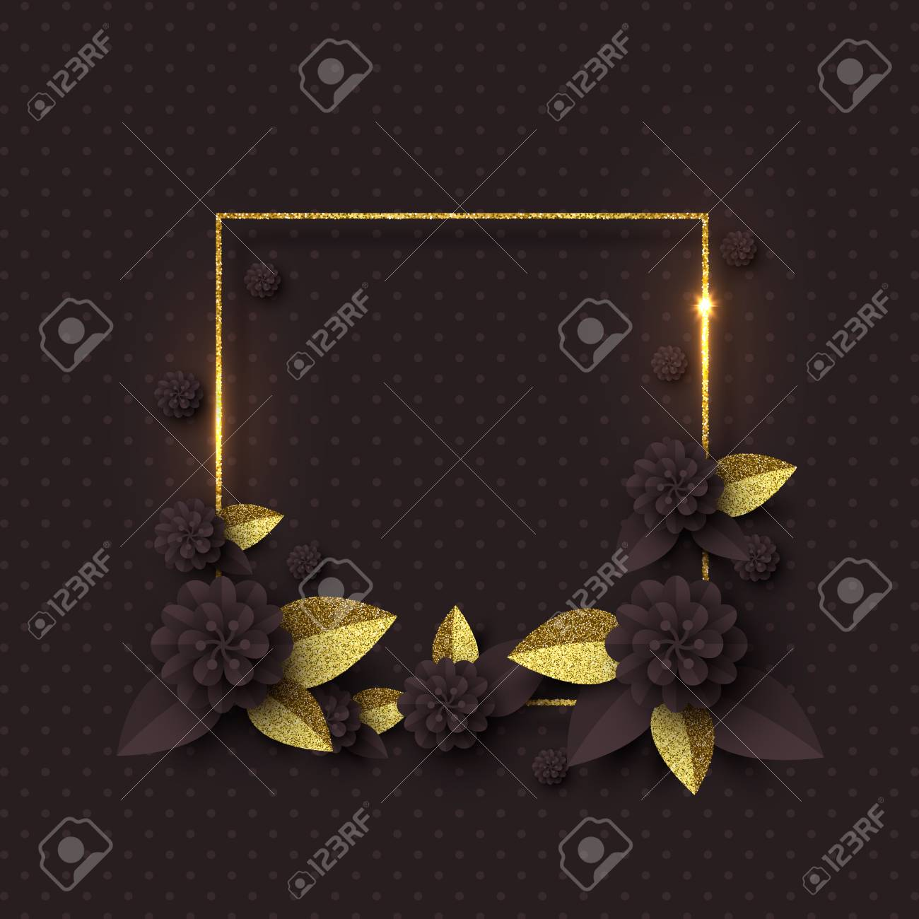 5fcc1c631a8 Paper Cut Flowers With Golden Glitter Leaves