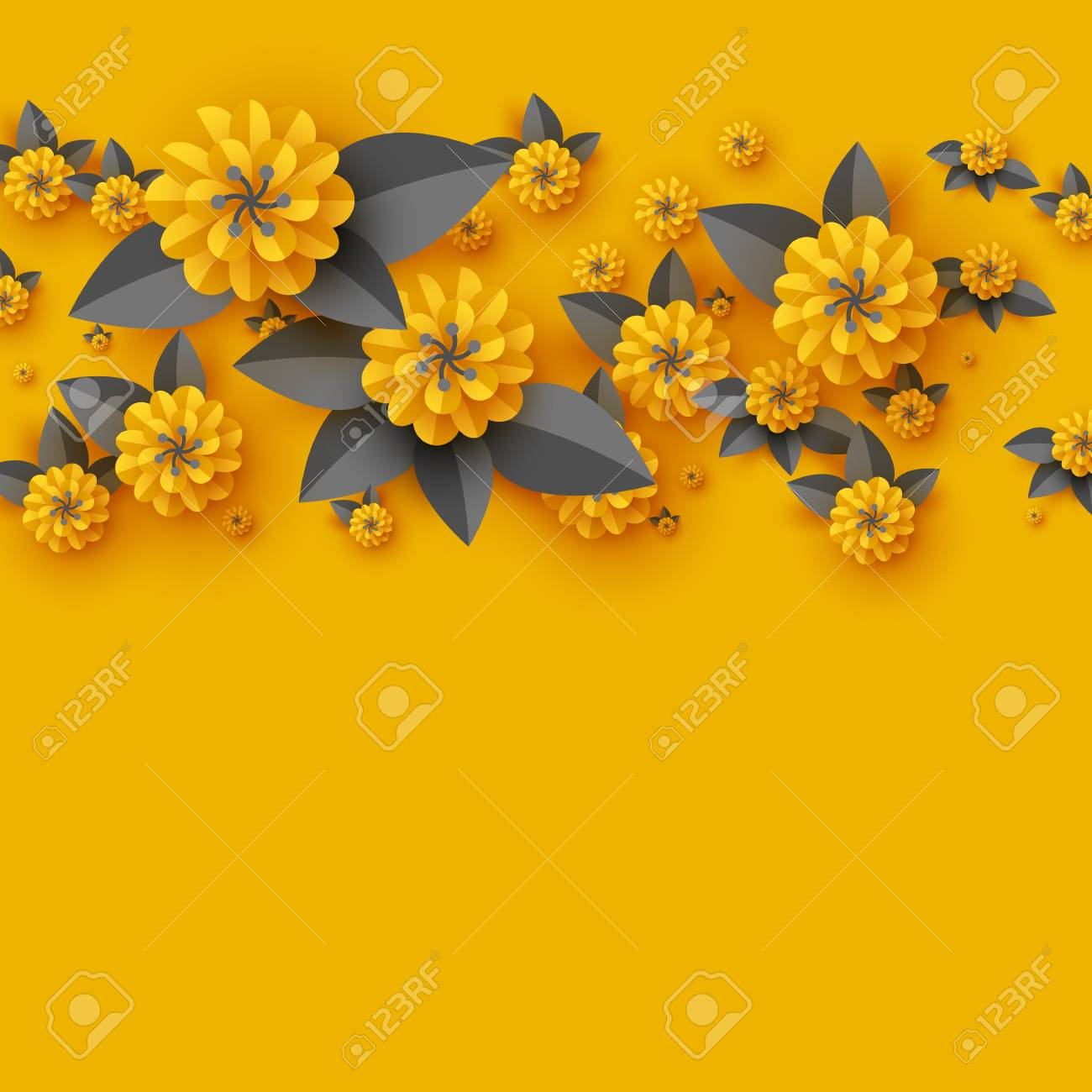 Paper Cut Decorative Flowers Template For Greeting Card Holiday