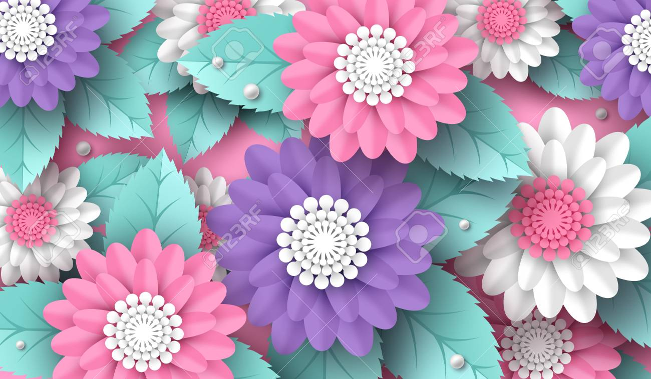Horizontal Paper Cut 3d Flowers Background In Pink White And