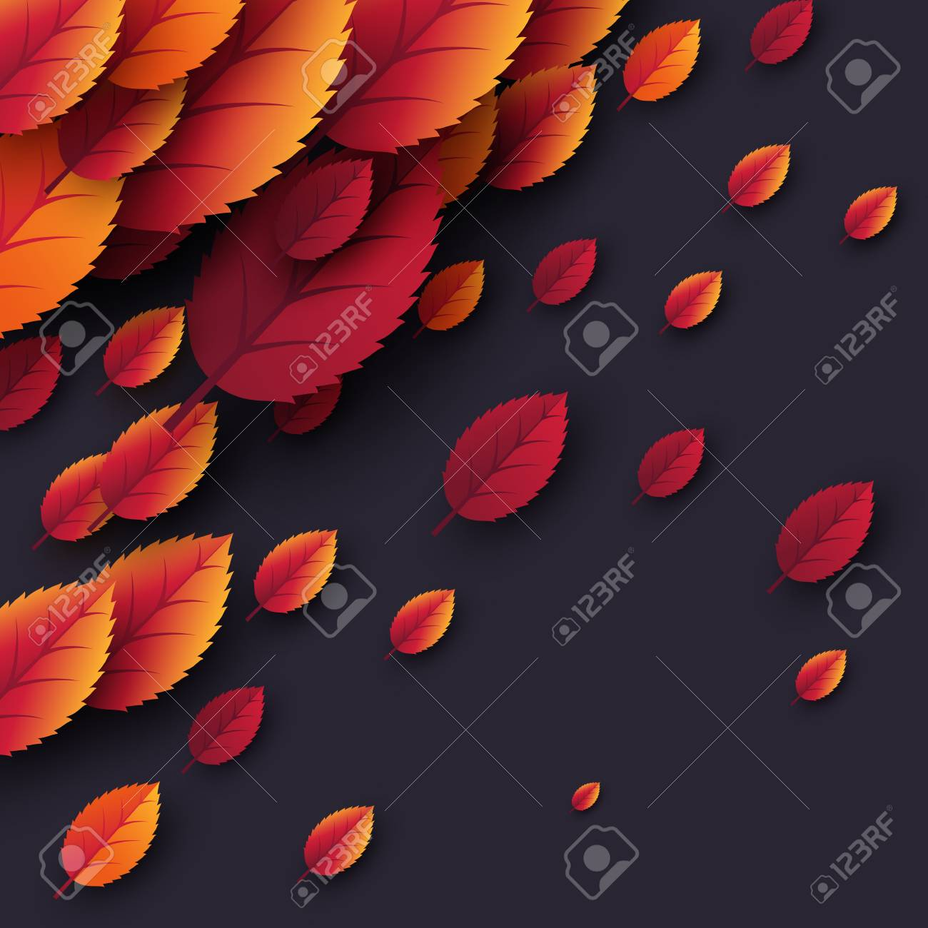 3d Realistic Autumn Fall Leaves Autumnal Background In Dark Colors Design For Web Print Wallpaper Vector Illustration