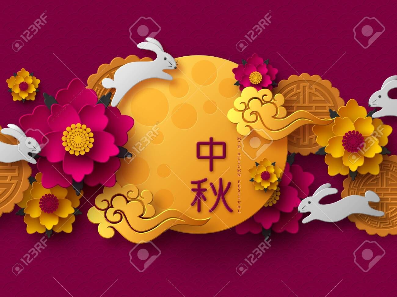 Chinese Mid Autumn festival design. 3d paper cut moon, flowers, mooncakes, rabbits and clouds. Purple traditional pattern. Translation - Mid Autumn. Vector illustration. - 126880888