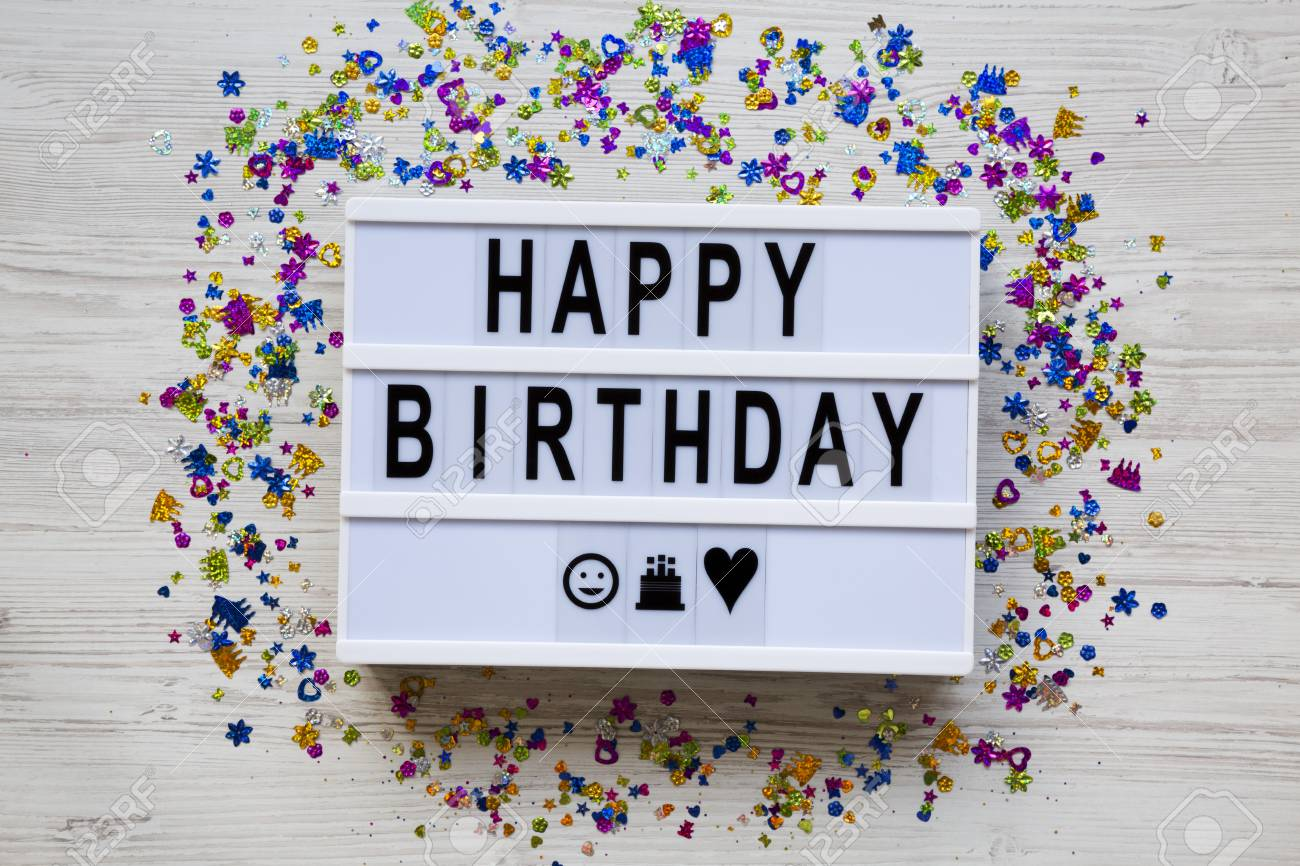 Lightbox with text 'Happy Birthday', decoration party on white