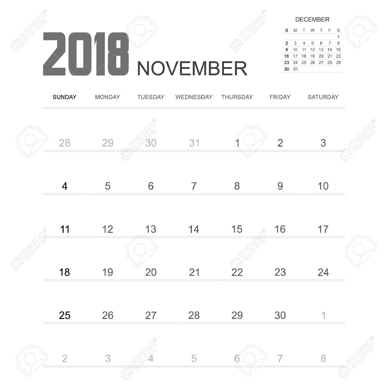 el diseño de noviembre 2018 calendario del planificador