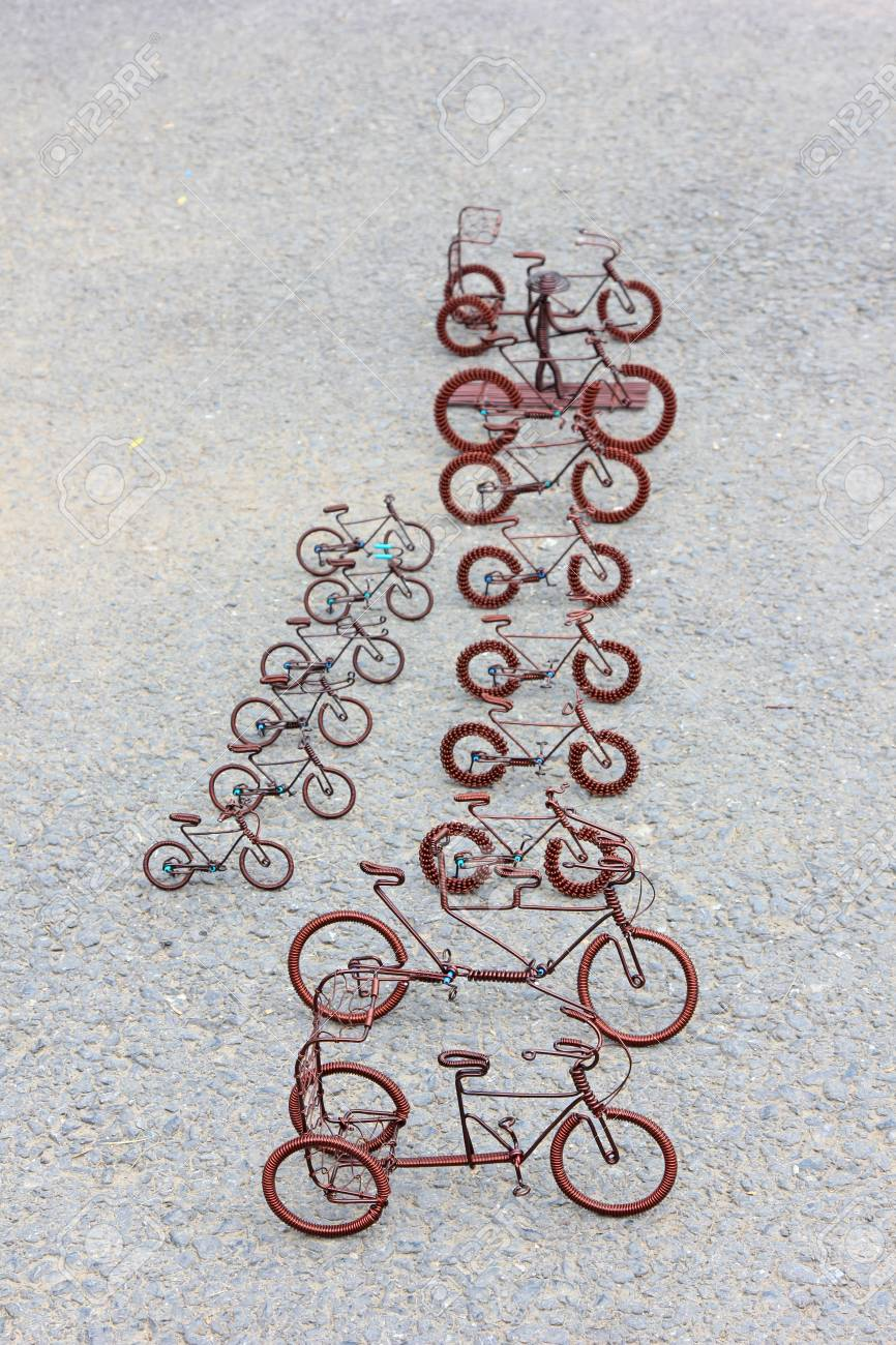 Toy Crafts Bicycle Made Of Copper Wire On The Ground Stock Photo Picture And Royalty Free Image Image 18999257