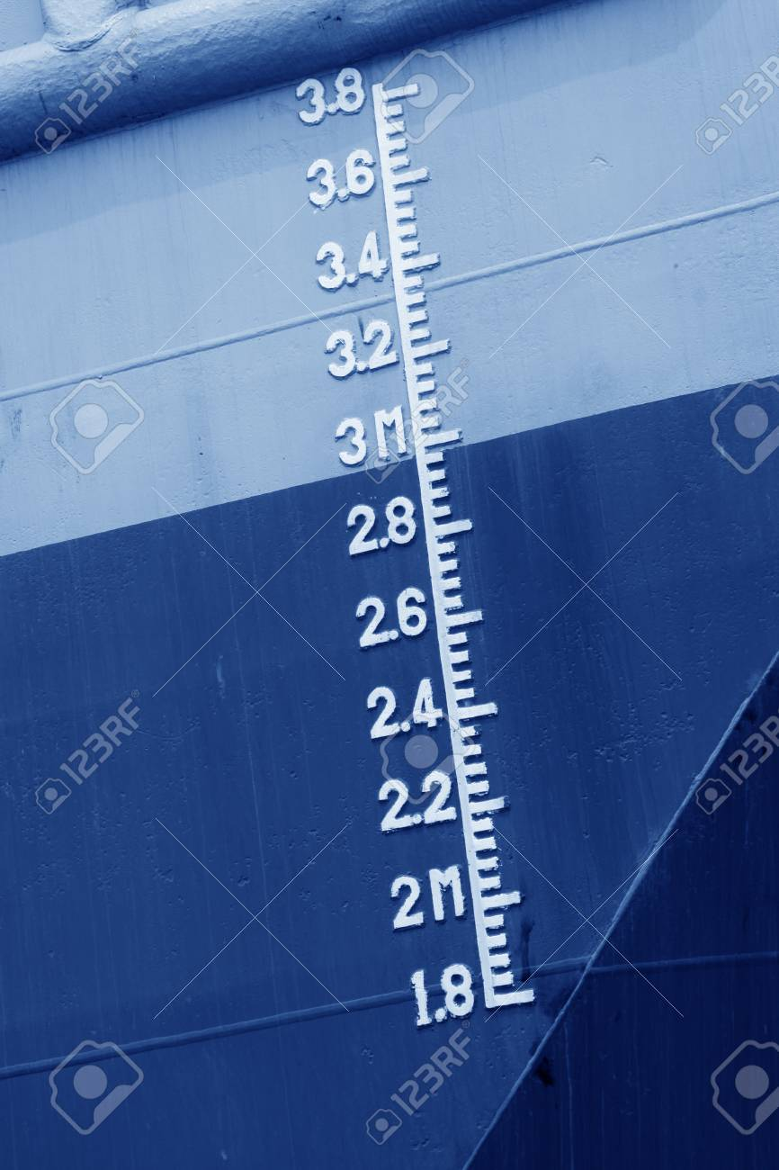 closeup of waterline marked on the ship Stock Photo - 22858126