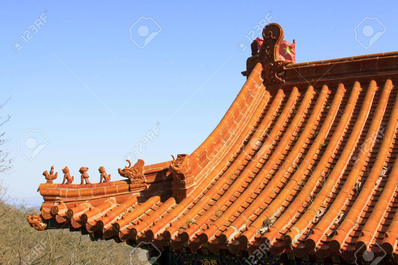 traditional chinese style yellow glazed tile roof and benevolent