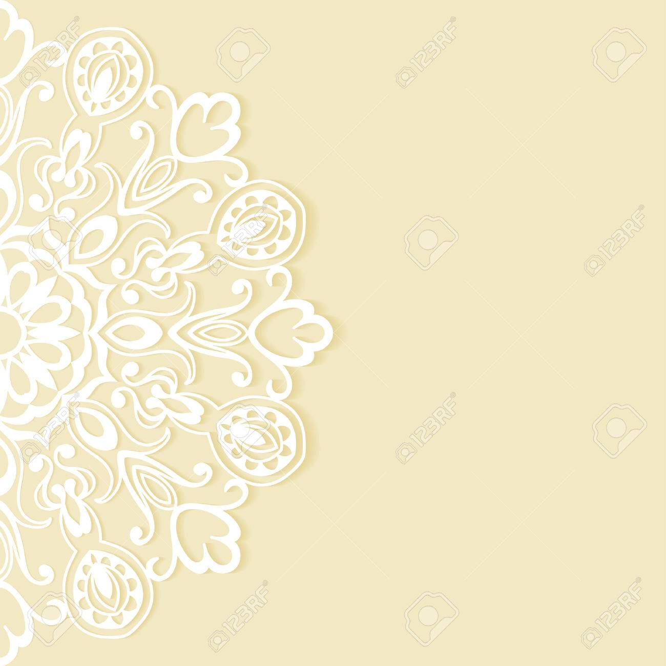 Wedding Invitation Or Greeting Card Design With Lace Pattern ...