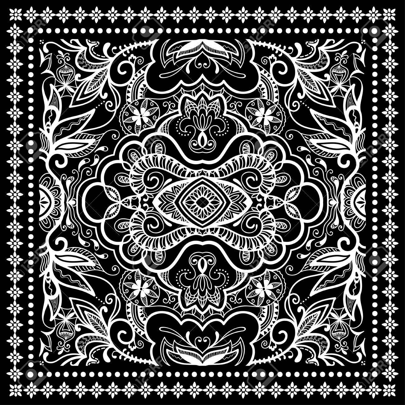 44afc02a Negro Bandana impresión, bufanda o pañuelo de seda patrón cuadrado estilo  de diseño para la impresión sobre tela, ilustración vectorial.