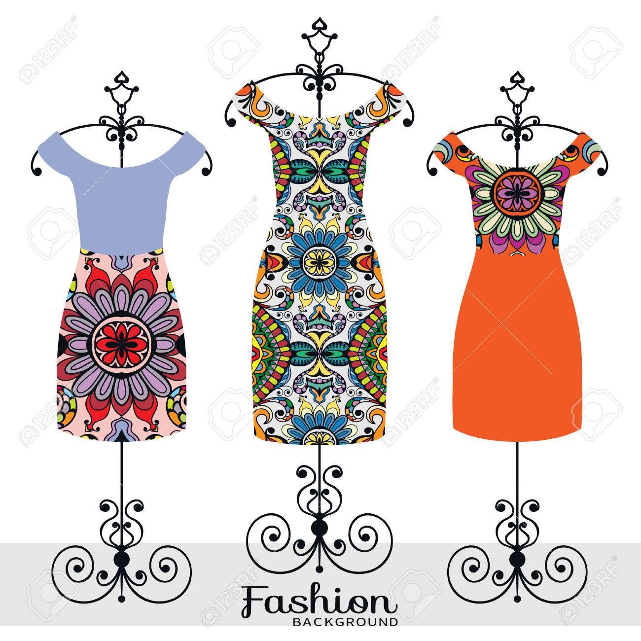 Ejemplo De La Moda Vector, Colección De Vestidos De Las Mujeres En ...