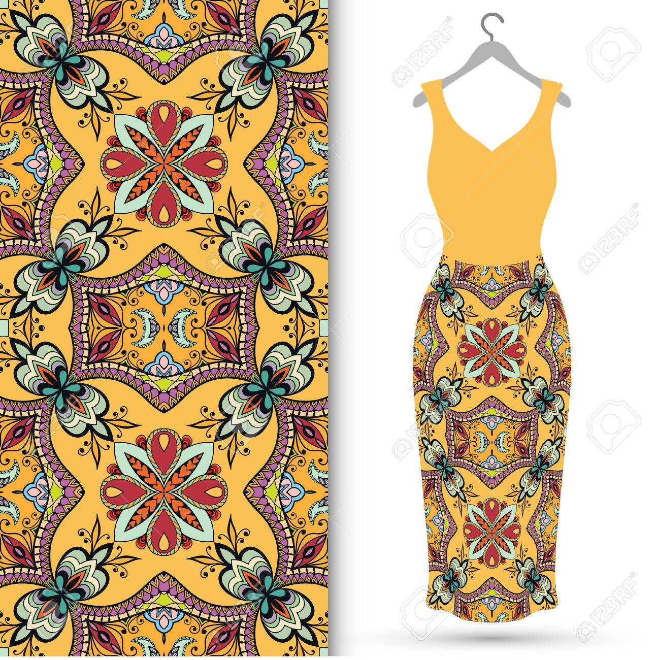 Fashion Illustration Women S Dress On A Hanger And Seamless Royalty Free Cliparts Vectors And Stock Illustration Image 53302883