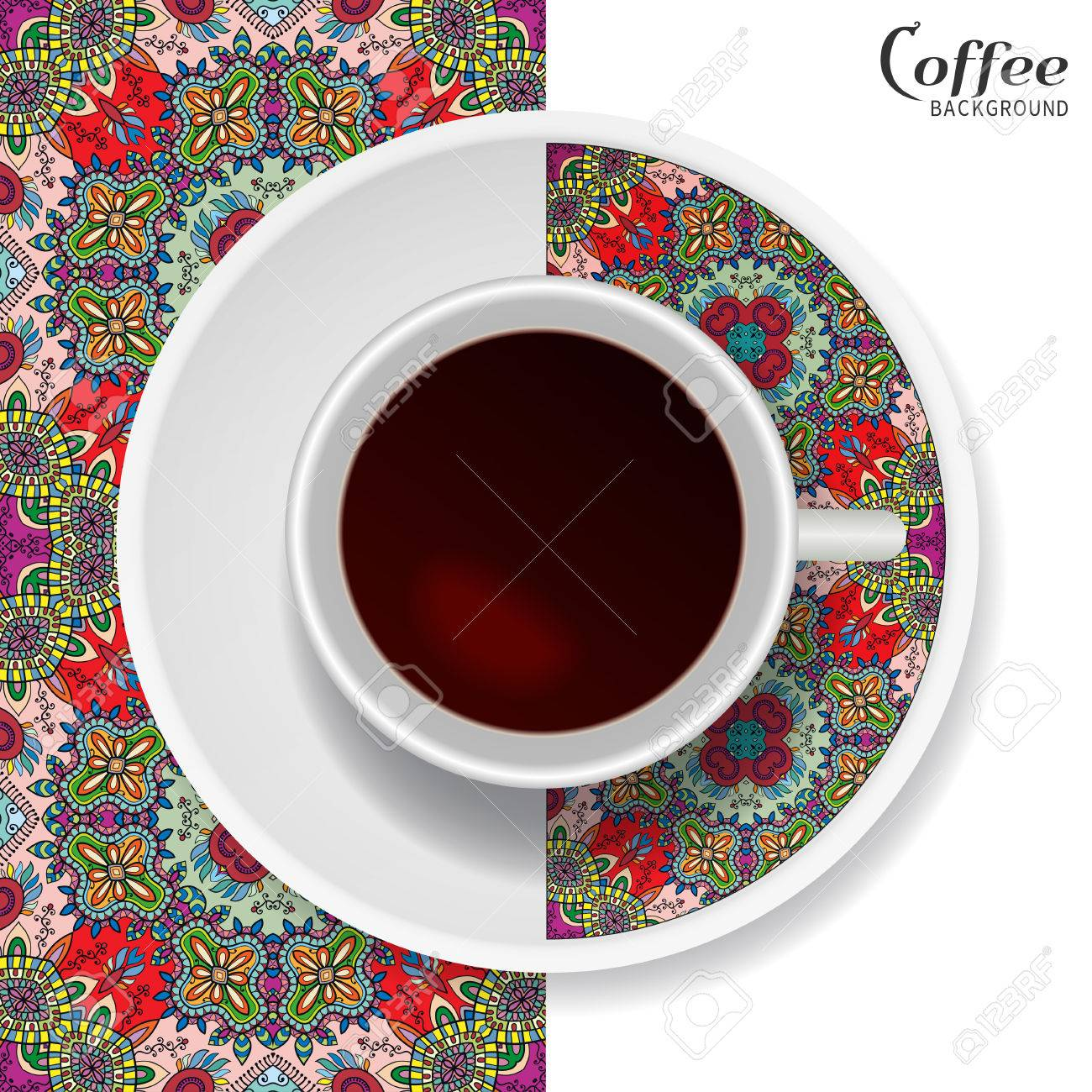 Cup of coffee with colorful ornament on a saucer and vertical seamless floral geometric pattern.  sc 1 st  123RF.com & Cup Of Coffee With Colorful Ornament On A Saucer And Vertical ...