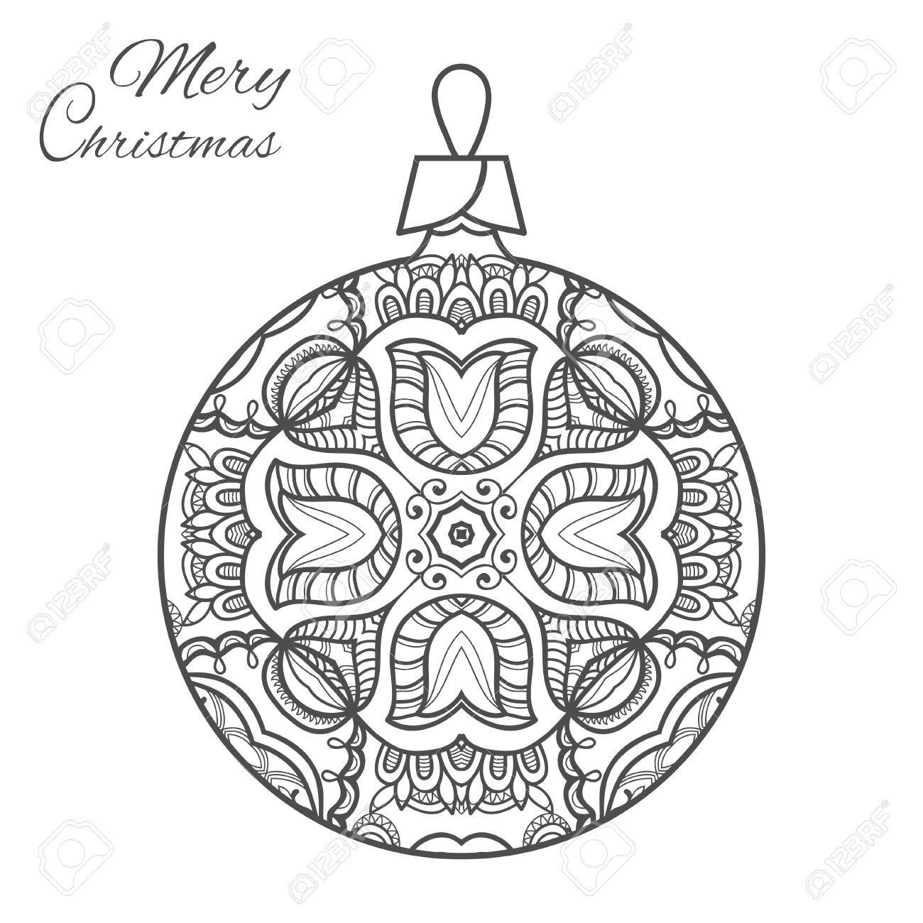 Christmas Ball Zen Doodle Ornate Pattern New Year 2017 Vector Hand Drawn Artistic