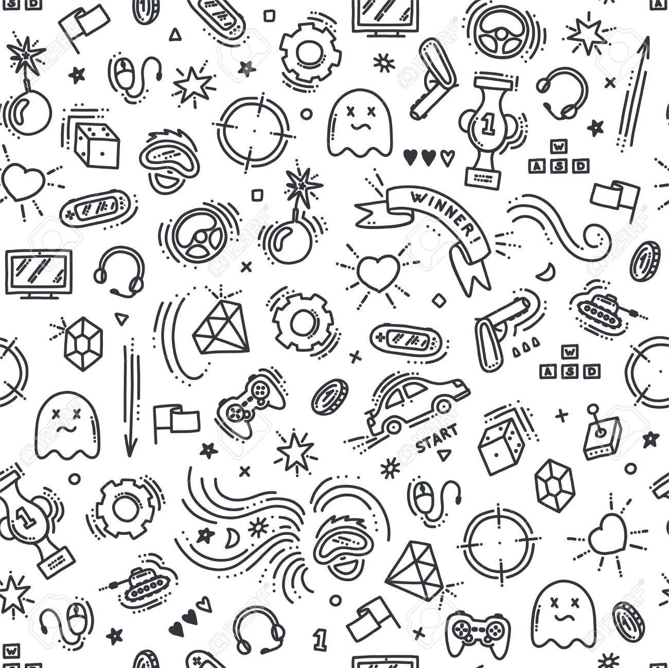 Seamless pattern of gaming objects. Virtual reality, computers, game genres and related stuff. Vector illustration in doodle style - 148946767
