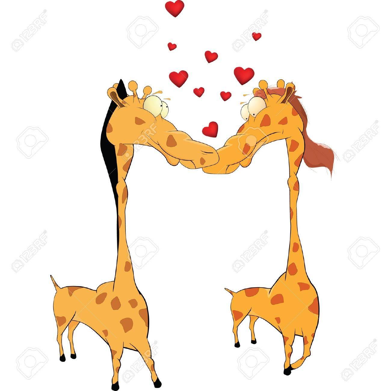 Amor Y Jirafas Dibujos Animados Ilustraciones Vectoriales Clip Art