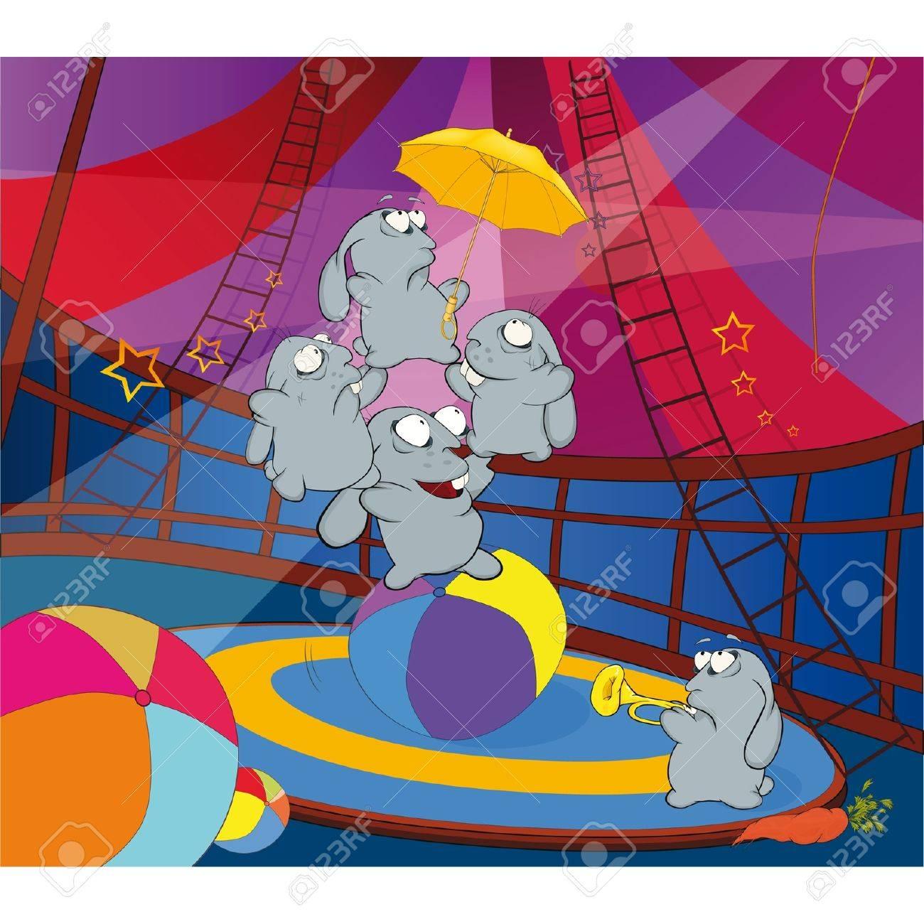 Rabbits and circus. Cartoon Stock Vector - 11660967