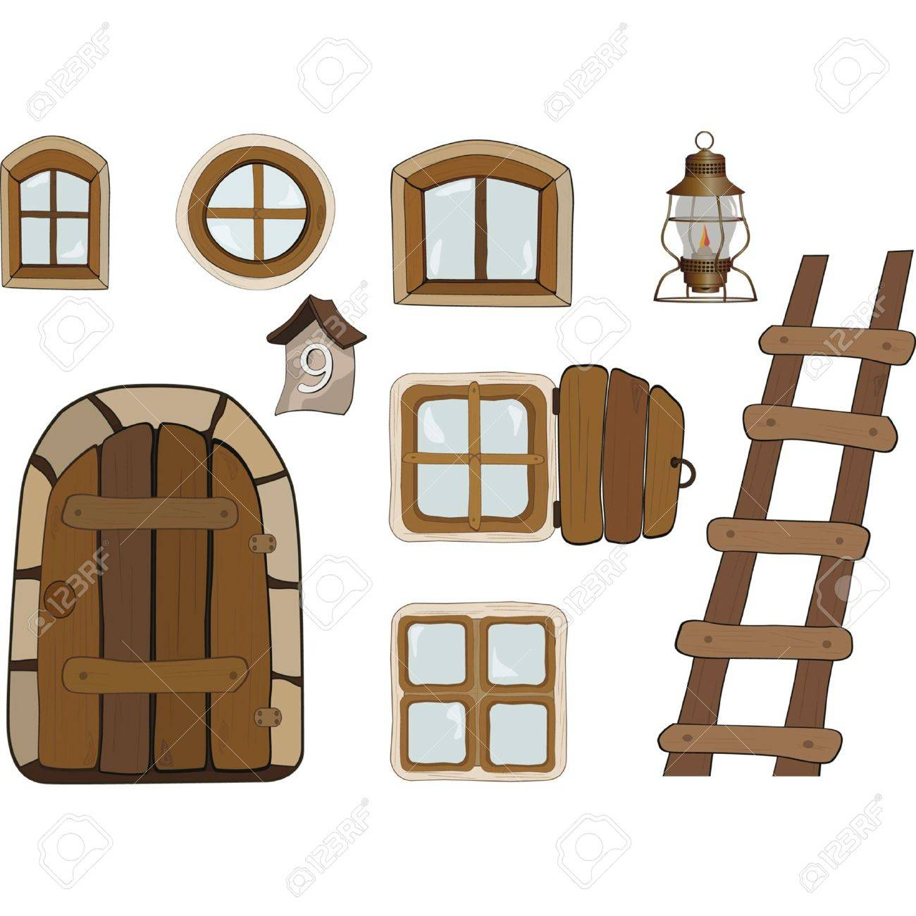 Building objects. Windows and doors Stock Vector - 11933263