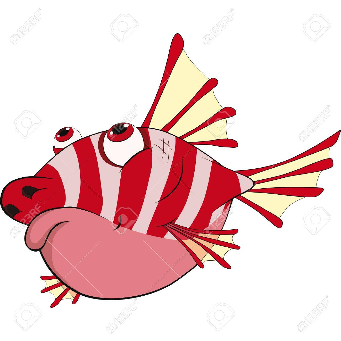 Prickly Coral Small Fish. Cartoon Royalty Free Cliparts, Vectors ...