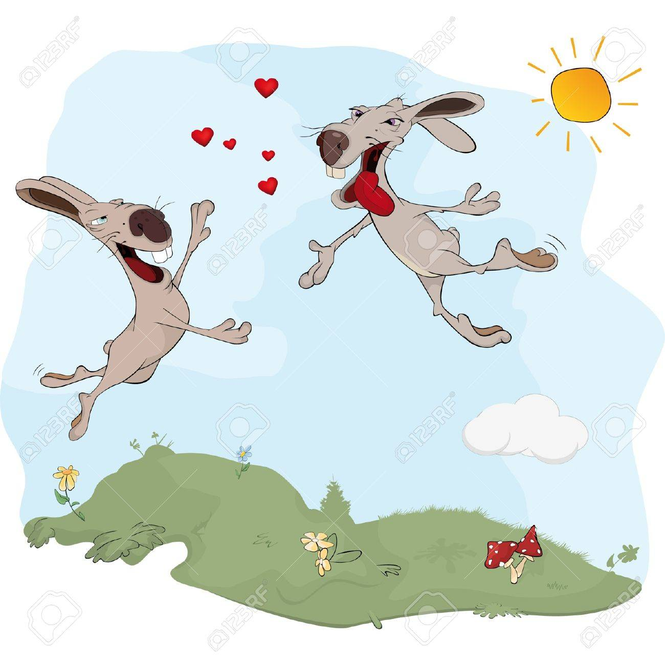 Rabbits and love. A meeting. Cartoon Stock Vector - 12484894