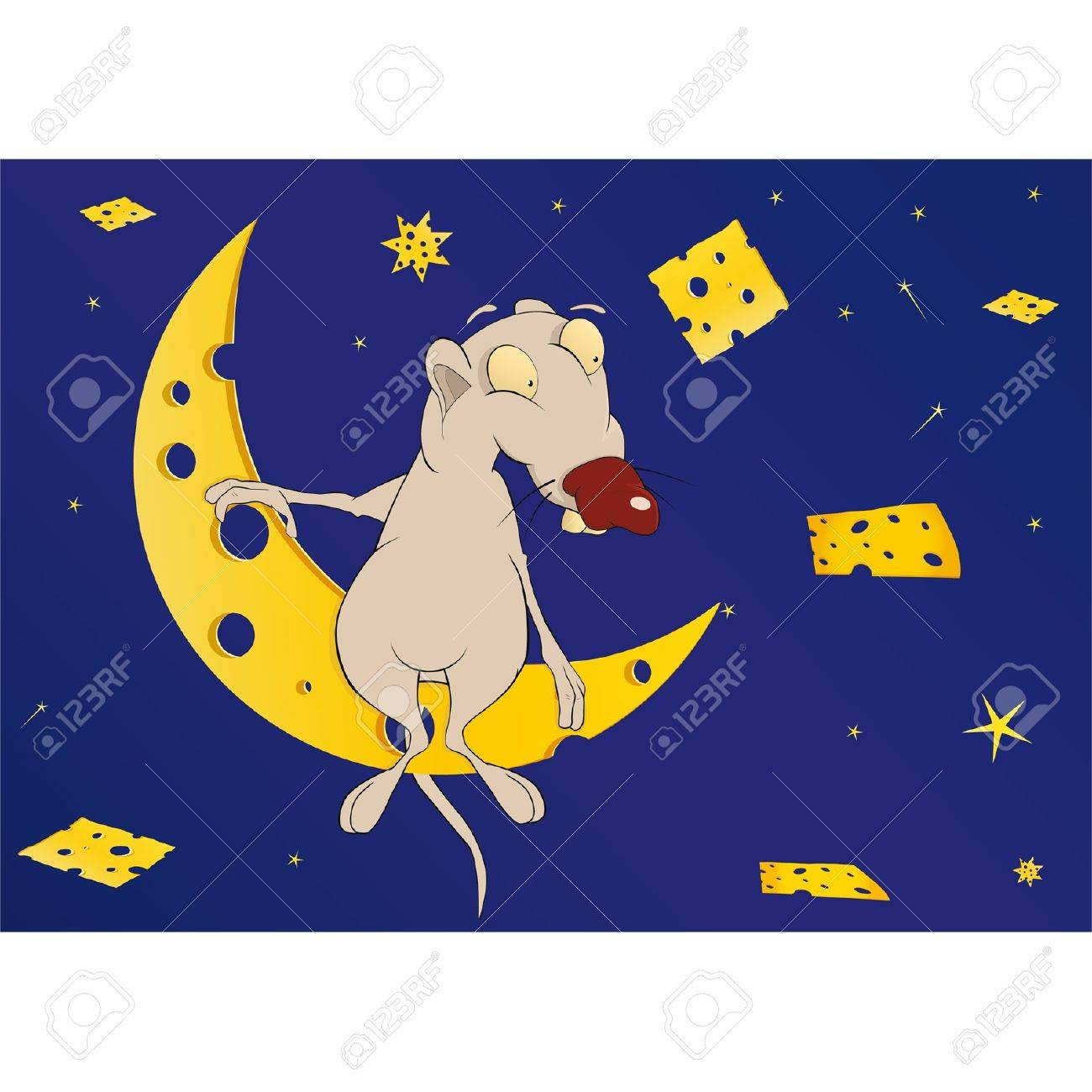 Mouse on the moon in the cheese country  Cartoon Stock Vector - 12485150