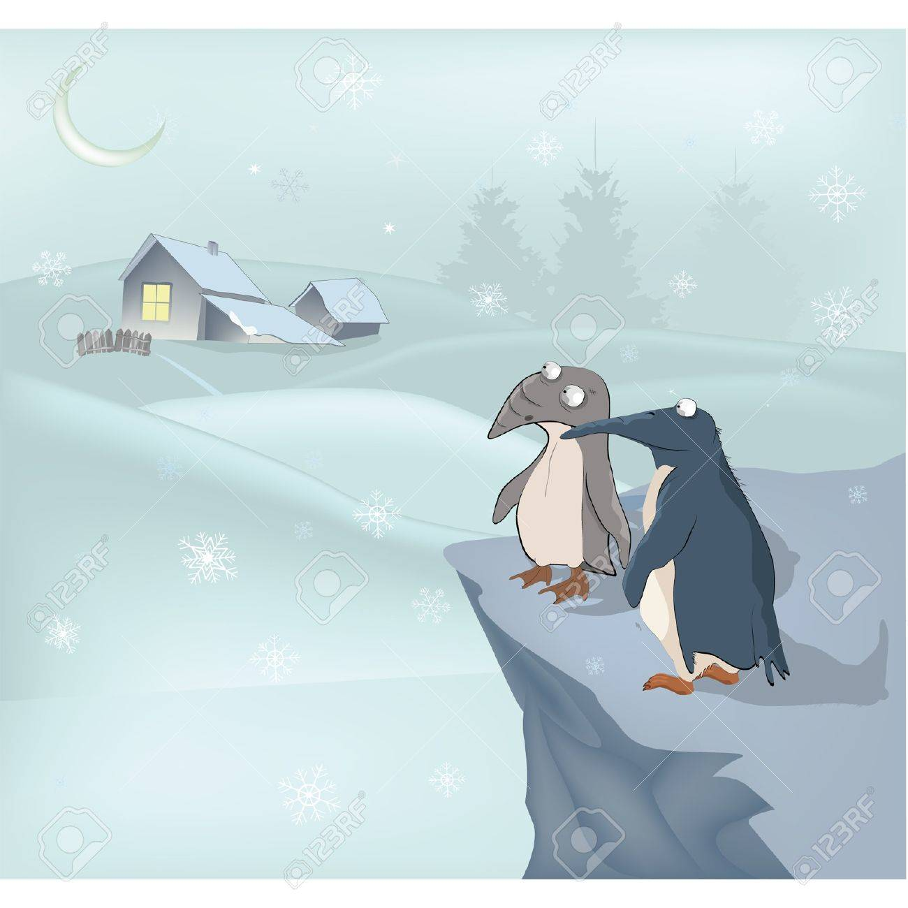 Penguins and winter Stock Vector - 12485653