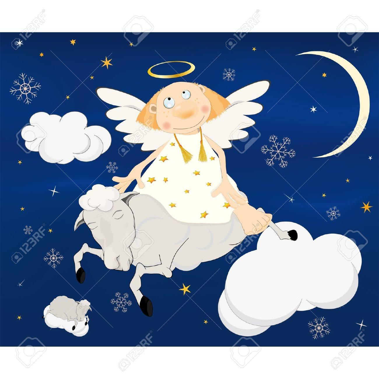 Christmas card.Angel on a lamb. Stock Vector - 12487559