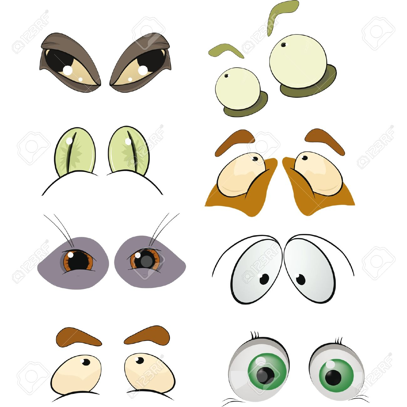 The complete set of the drawn eyes  Cartoon Stock Vector - 12801547