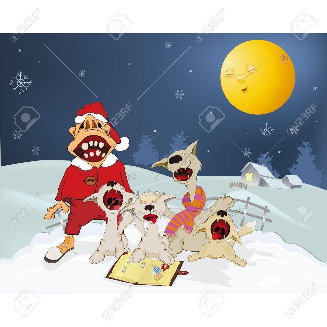 Foto de archivo , Los gatos y los Santa Claus himnos cantan Navidad. Dibujos animados
