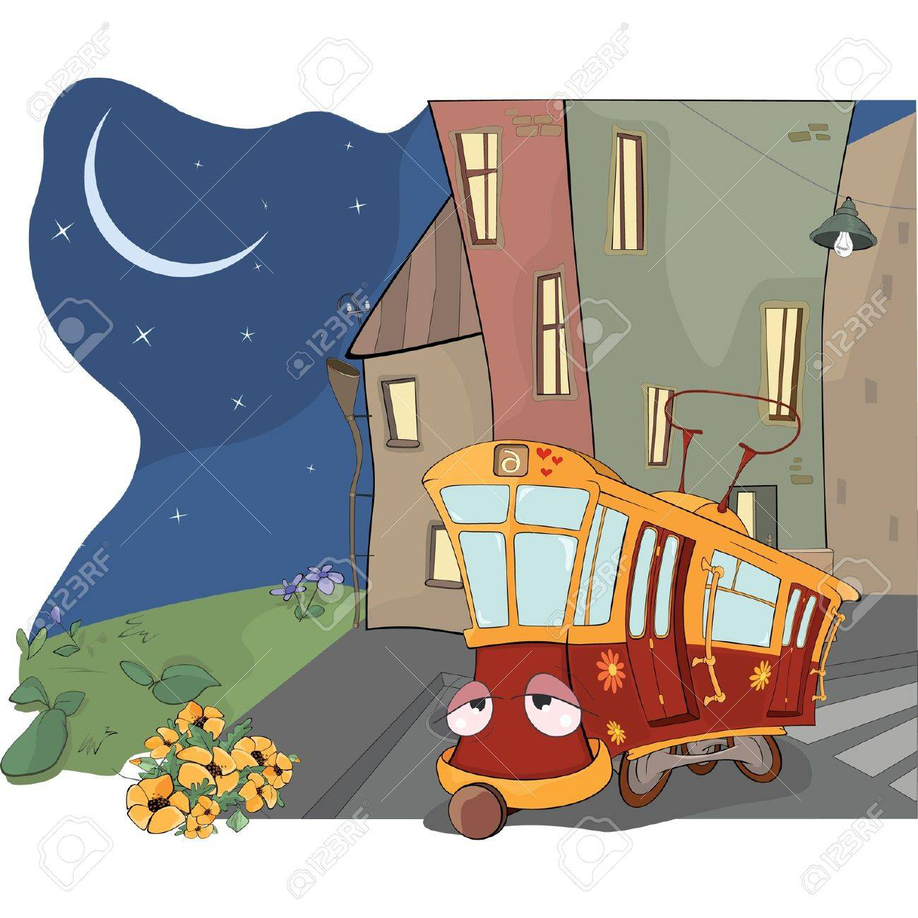 Fairy tale on a tired red tram Stock Vector - 13814523