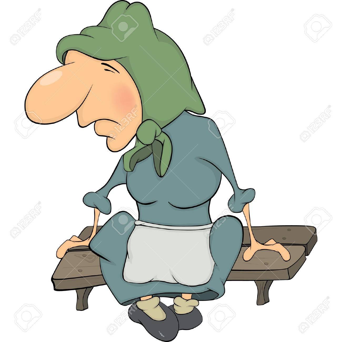 The grandmother on a bench cartoon Stock Vector - 14103413