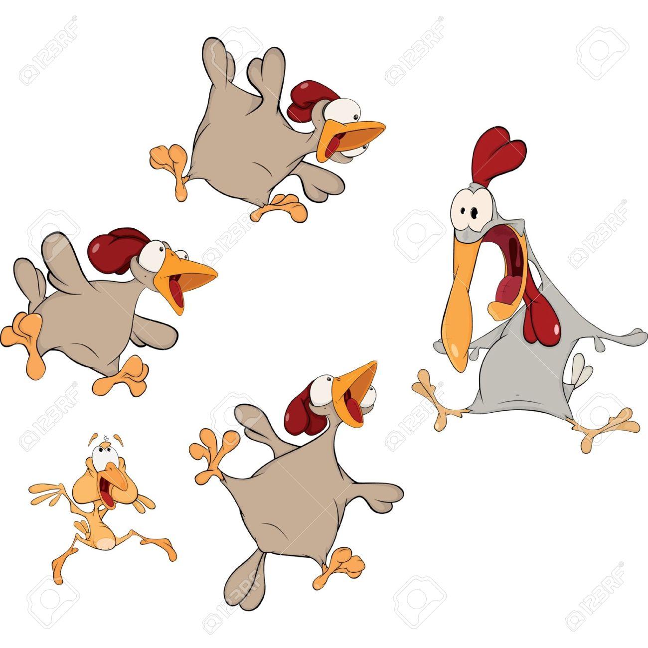 Dessin Animé Poule poules et un coq. dessin animé clip art libres de droits , vecteurs