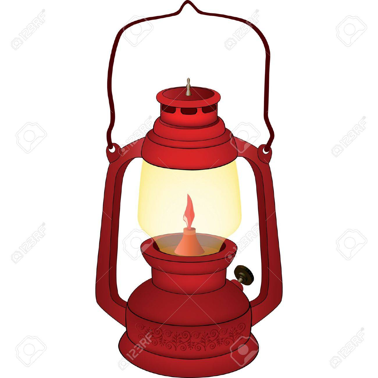 Old Red Lamp Stock Vector
