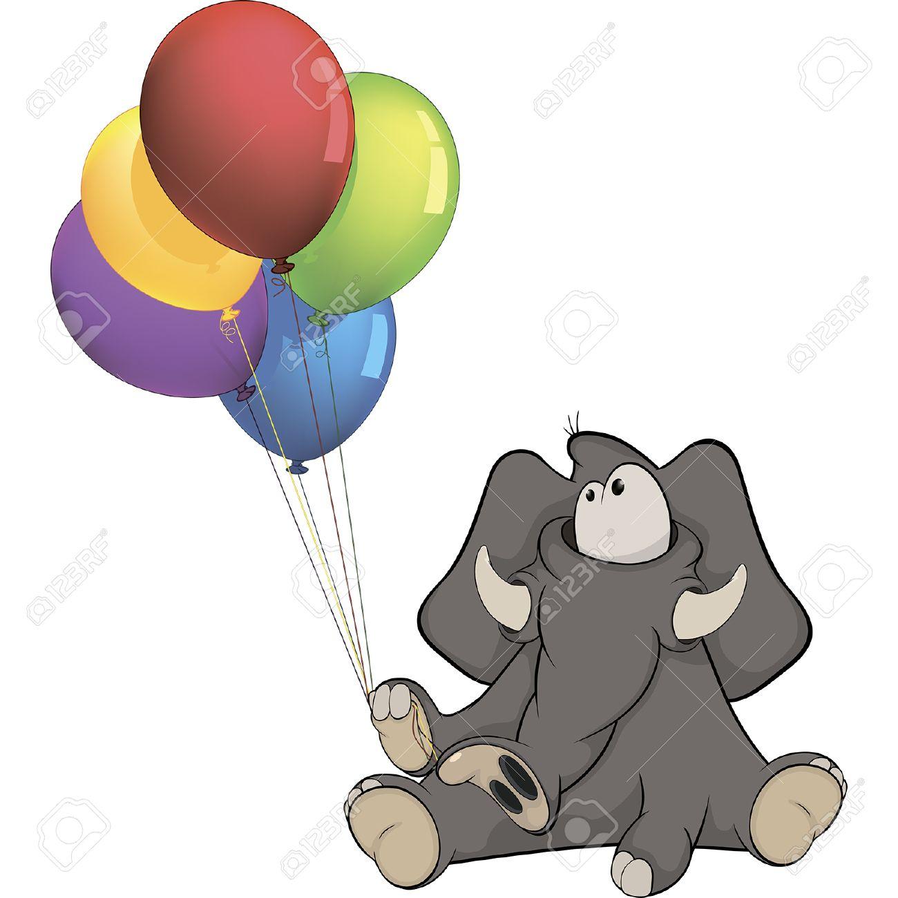 The Elephant Calf And Birthday Balloons Cartoon Stock Vector