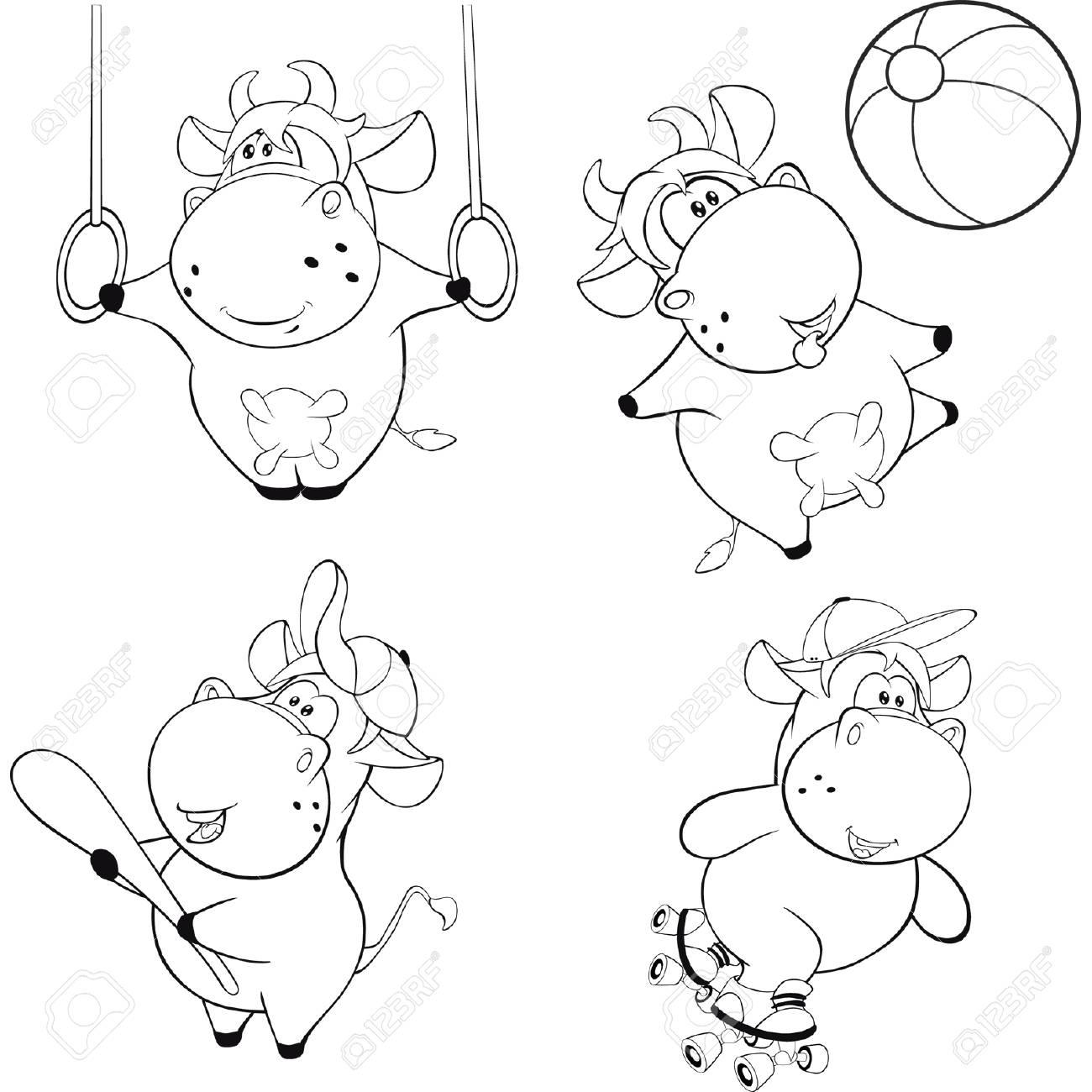 Vacas Felices. Galería De Imágenes. Cartoon. Libro Para Colorear ...