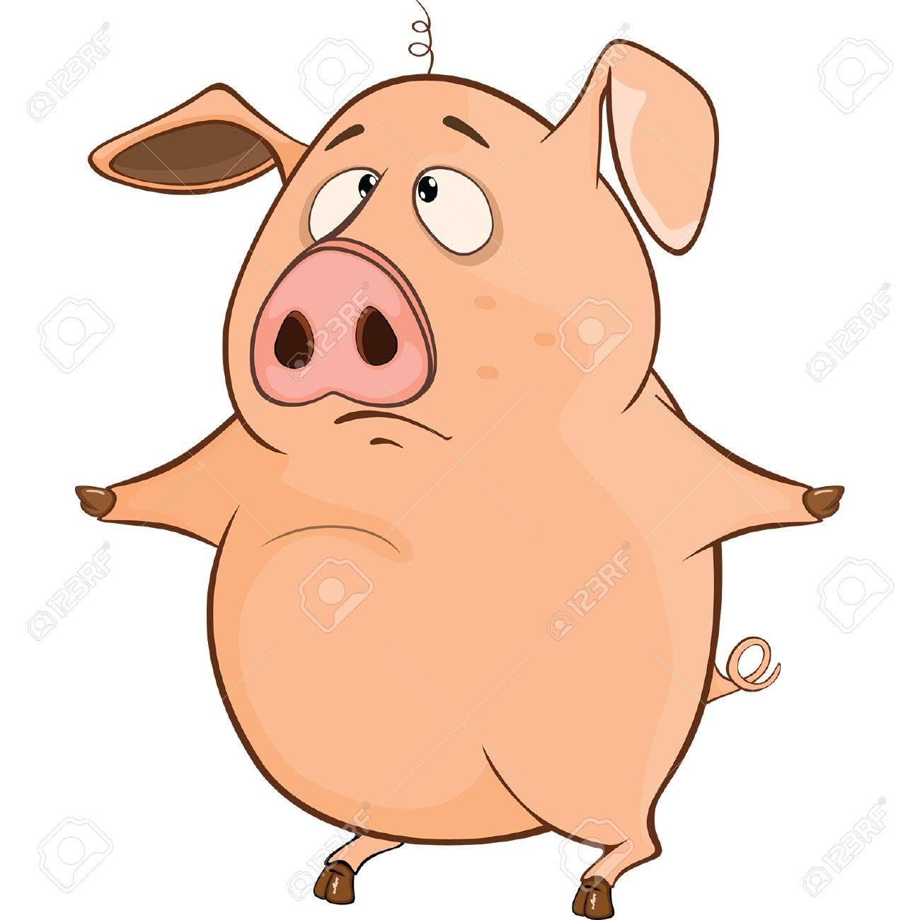 Illustration D Un Cochon Mignon Personnage De Dessin Animé