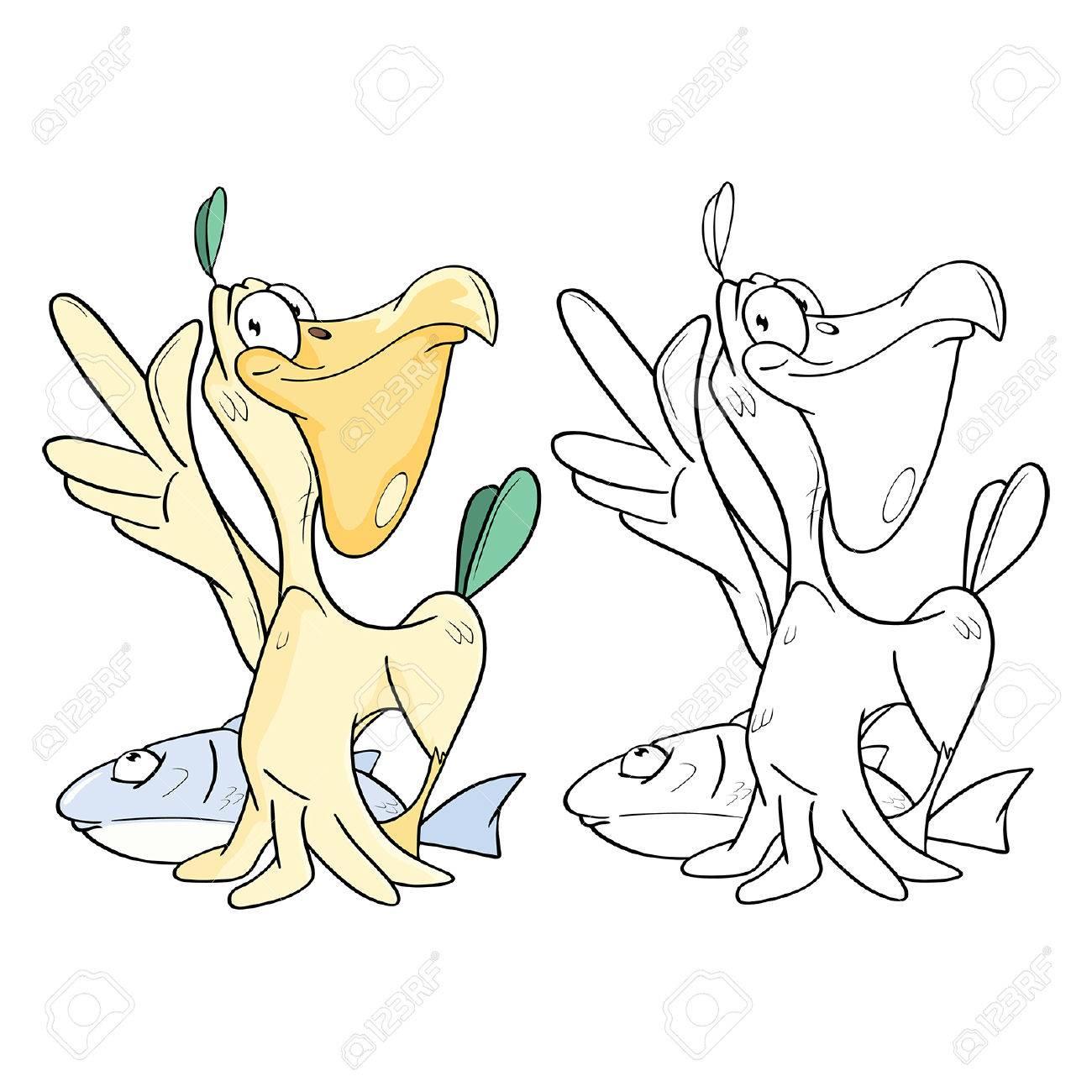 かわいいペリカンと大きな魚漫画キャラクターの塗り絵のイラスト