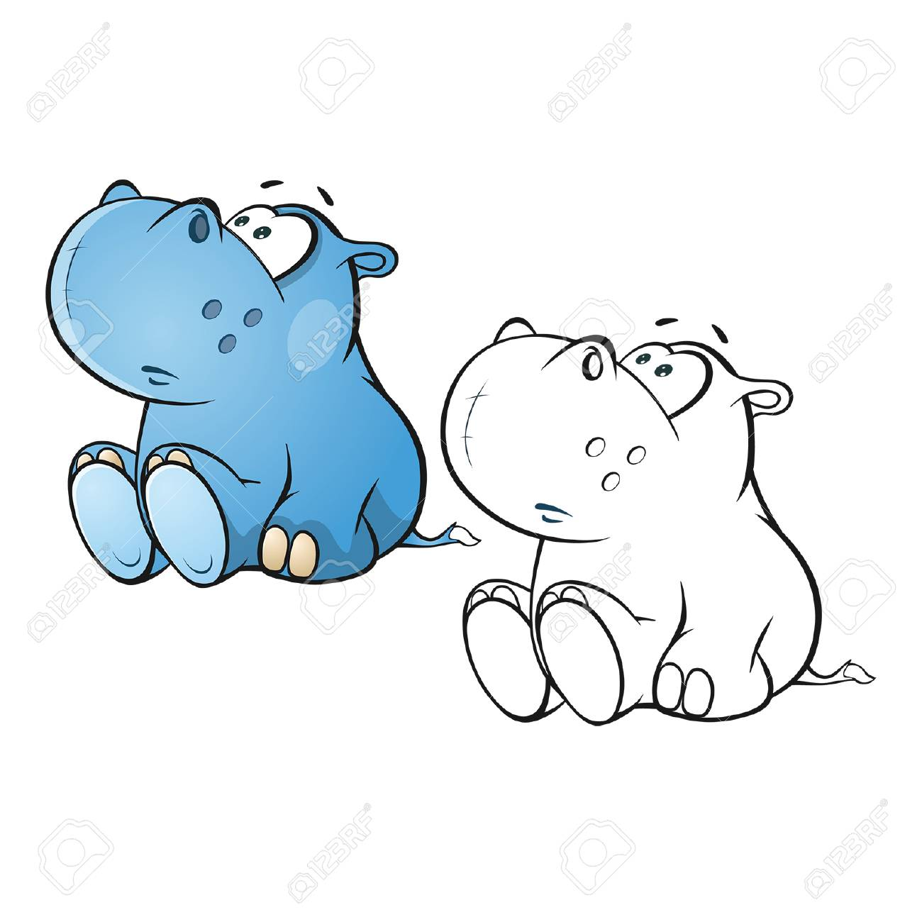 - Illustration Of A Cute Little Hippo Cartoon Character. Coloring