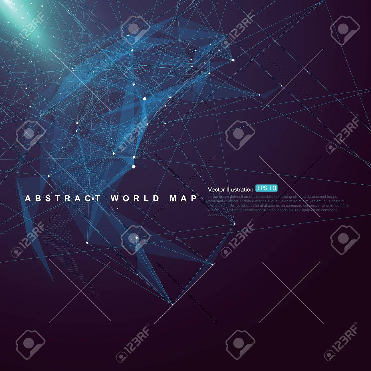 World map point, line, surface composition shows Global network connection - 52484387