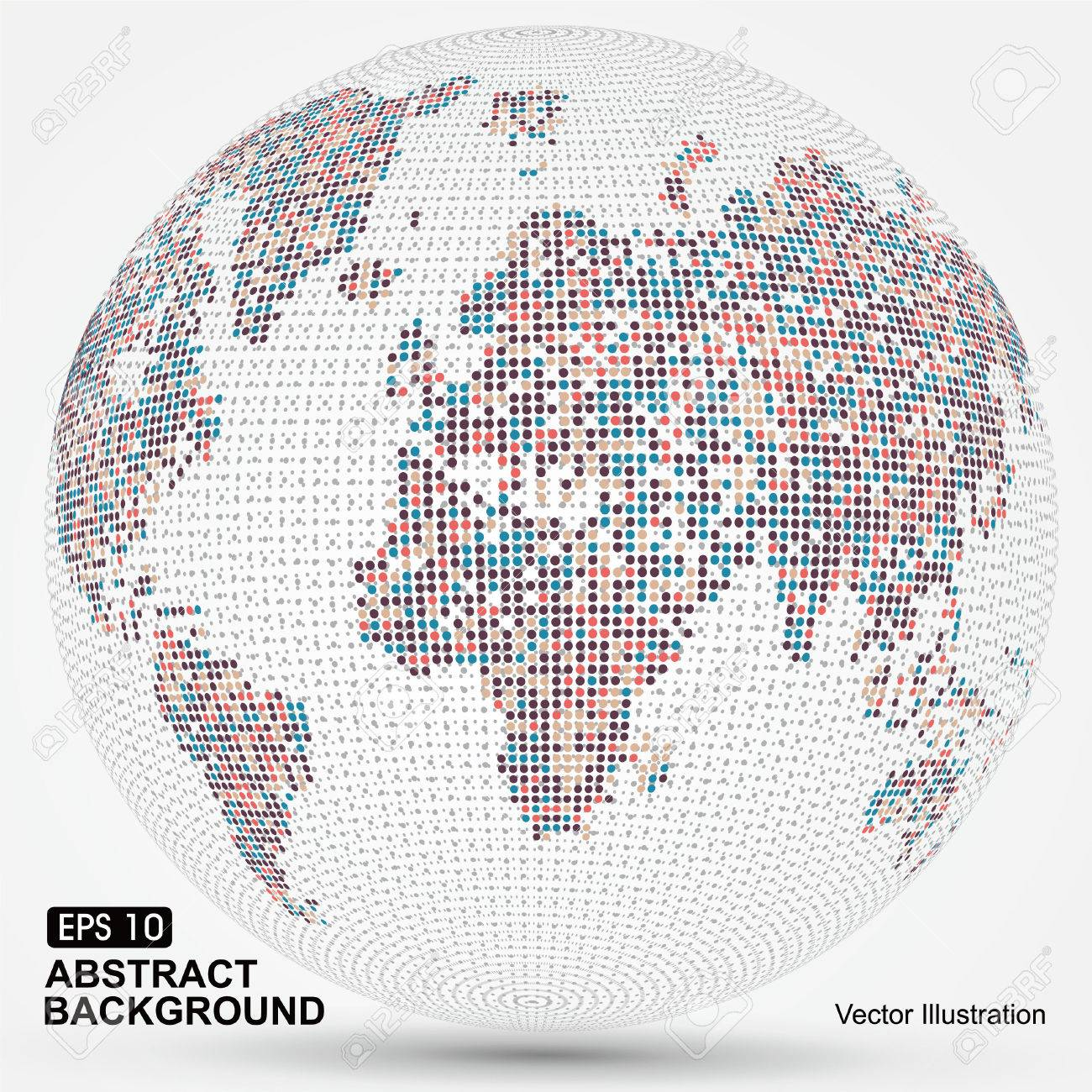 Dots colorful three-dimensional map of the world,abstract graphics. - 52592511