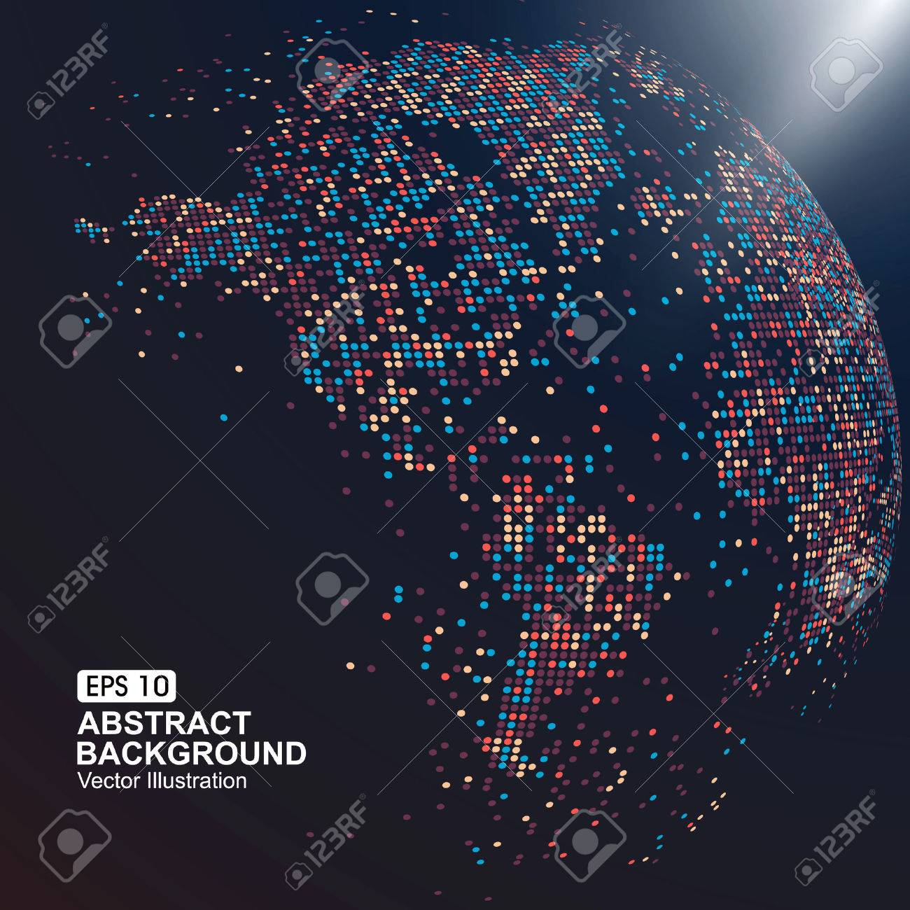 three-dimensional map of the world with colorful dots - 52593786