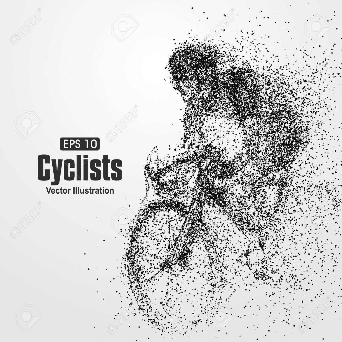 Cyclists, particle divergent composition, vector illustration. - 52744225