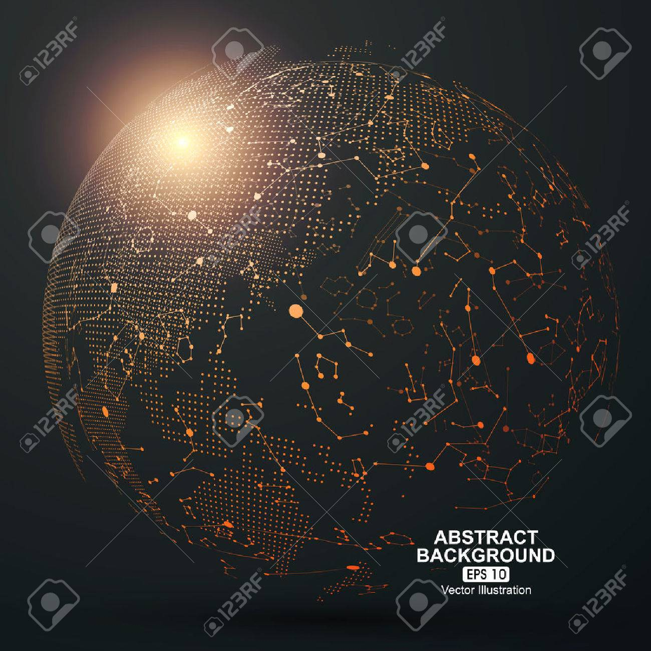 Point and curve constructed the sphere wireframe, technological sense abstract illustration. - 52744359