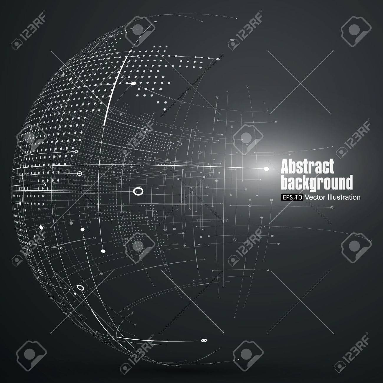 Point and curve constructed the sphere wireframe, technological sense abstract illustration. - 52743376