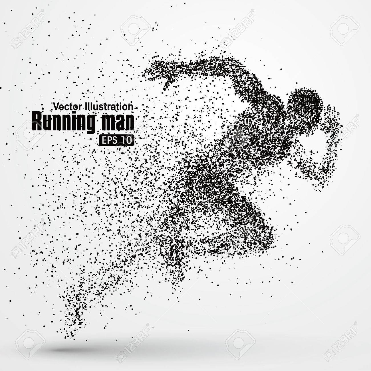 Running Man, particle divergent composition, vector illustration. - 52737213