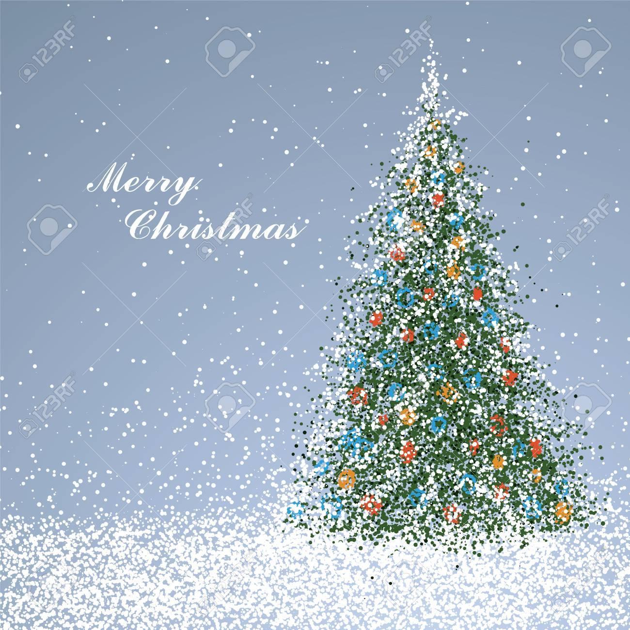 Immagini Copertina Natale.Albero Di Natale Composto Di Particelle Puo Essere Utilizzato Come Copertina Di Una Cartolina Di Natale